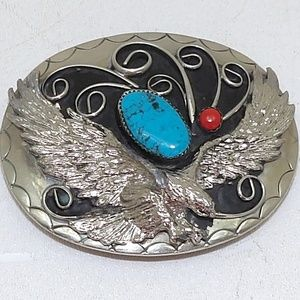 Belt Buckle Turquoise & Coral Silver Eagle Rodeo